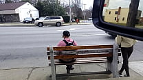 Bus Stop, B'more. Skinny Shorty, Butt Cleavage.
