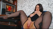 Curves girl masturbating when watching porn preview image
