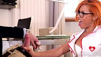 Nerdy redhead Rose Valerie fucked by patient and doctor at the DP clinic Thumbnail