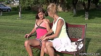 Guy finds out old mom toying his teen gf