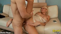 Busty blondie Blake Rose suck and ride a big cock