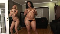 Two black big booty step sisters share one Big black cock