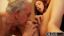 Young slut hard fucked by old horny man he fucks her pussy and licks clit صورة