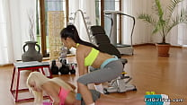 Asian fitness coach licks blonde Milf Preview