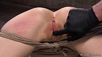 Hogtied brunette fucked in the air