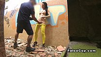 Fake cop fucks hottie in ruined building