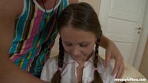 Pigtailed teen Liza gets ass fucked and cummed Thumbnail