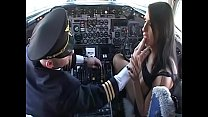 Gorgeous brunette Lisa Sparkle with big knockers begs aircraft pilot to poke her juicy butt