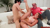 Katie was able to convince her BF Ricky to fuck in front of her stepdad Jay