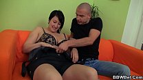 He picks up and fucks brunette bbw on the couch