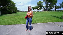 Busty teenager picked up and slammed during a van ride thumbnail