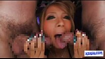 Hot Tanned Stripper In Sexy Dress Giving Blowjob For 2 Guys Cum To Hands In The thumbnail