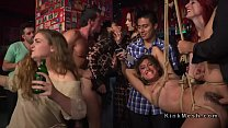 Two slaves orgy banged in public bar video