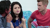 Petite teen doublepenetrated in real threeway