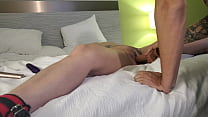 Tied my wifes legs apart and fucked her with a dildo