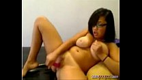 Nerdy big breast girl playing with her pussy
