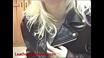Jill showing off her favorite leather outfit