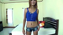 Skinny Thai teen rammed hard and creampied