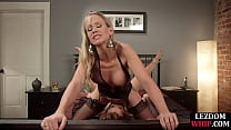 Lesdom mistress sits on face strapon with sub