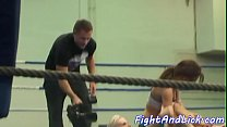 European lesbians wrestling in a boxing ring video