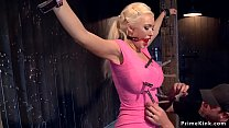Busty blonde slave is made to ride Sybian
