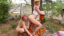 Outdoor squirting les gets dildo in her ass