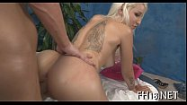 Lovely babe likes massage video