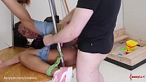 Bubble butt babe gets a rough ass fucking and face fucking on a demented ass-to-mouth merry-go-round (Kira Noir)