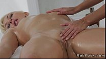 Hot blonde babe massaged by massage tool
