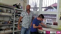 Redhead Girl and two guys in hot action in workshop