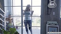 OMG!!!Big tits blonde MILF Janna Hicks suddenly feels horny while cleaning the windows with her huge tits and started a hot sex with stepson.