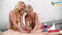 Two blonde whores make out and jerk a dude off ...