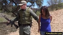 Dark haired teen banged by border guard on bench pornhub video