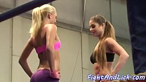 Lez babe orally pleasured in boxing match porn thumbnail