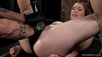Hogtied babe gets cunt fisted in dungeon