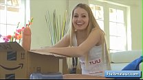 Blonde cutie teen amateur Scarlette unboxing several sex toys and start using them on her juicy cunt صورة