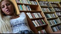 Hot blonde teen Candy anal cock riding in the library