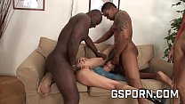 Two slut with anal monster in a interracial group sex