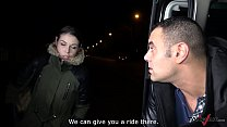 Night fuck with lost babe in driving car and horny stranger