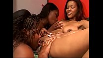 Ebony lesbian trio eat pussies and ride strapon indoors