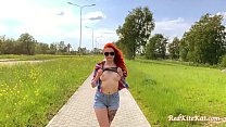Babe Public Blowjob Big Dick and Cum in Mouth Outdoor after Walk