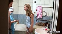Fellow assists with hymen examination and riding of virgin cutie