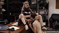 Busty TS gets analed by boss big cock
