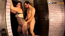Spontaneous sex in the hallway. He fucked her, and she fucked him. (pegging, cum on tits)