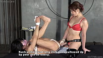 Japanese dominatrix Mikako pegging and watches slave ejaculate