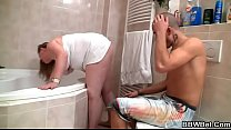 Hot sex with fatty in the bathroom