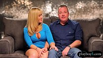 Happy husband gets girl as a present for his bi...