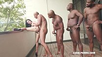 Young Cutie Nelly Kent takes on 4 huge black co...