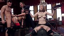 Sybian riding and group anal fucking