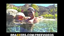 Curvy Latina Diamond Kitty is fucked hard in her ass in the pool